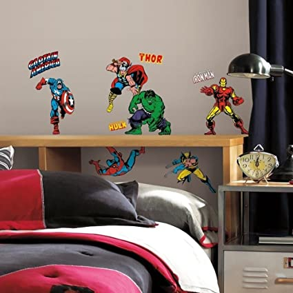 Superbe 32 New CLASSIC MARVEL HEROES WALL DECALS Avengers Stickers Boys Bedroom  Decor