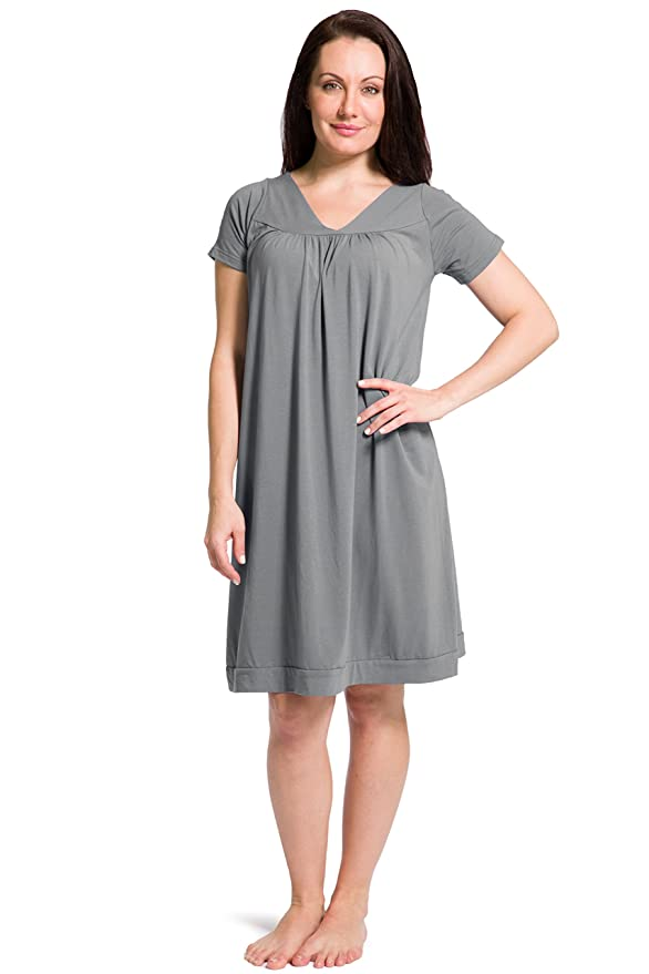 Fishers Finery Women s Tranquil Dreams Short Sleeve Nightgown at Amazon  Women s Clothing store  07b470d20