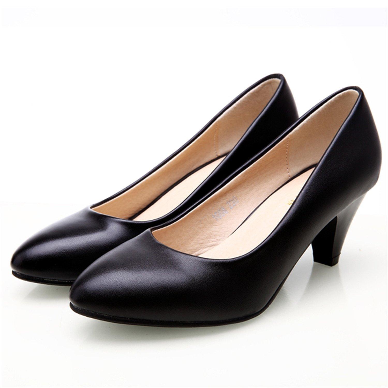 on sale e85c5 b5638 gome-z Women s Leather Med Heels New Shoes Classic Black White Pumps Pumps  Pumps Shoes For