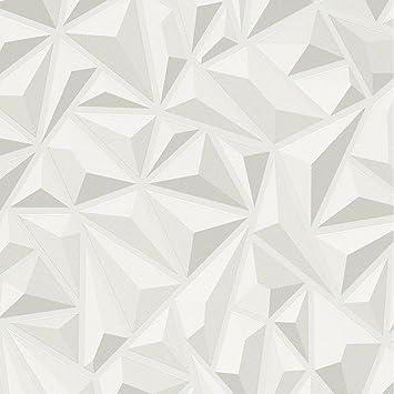 Effet 3d Blanc Gris Geometrique Papier Peint Texture Vinyle De Luxe