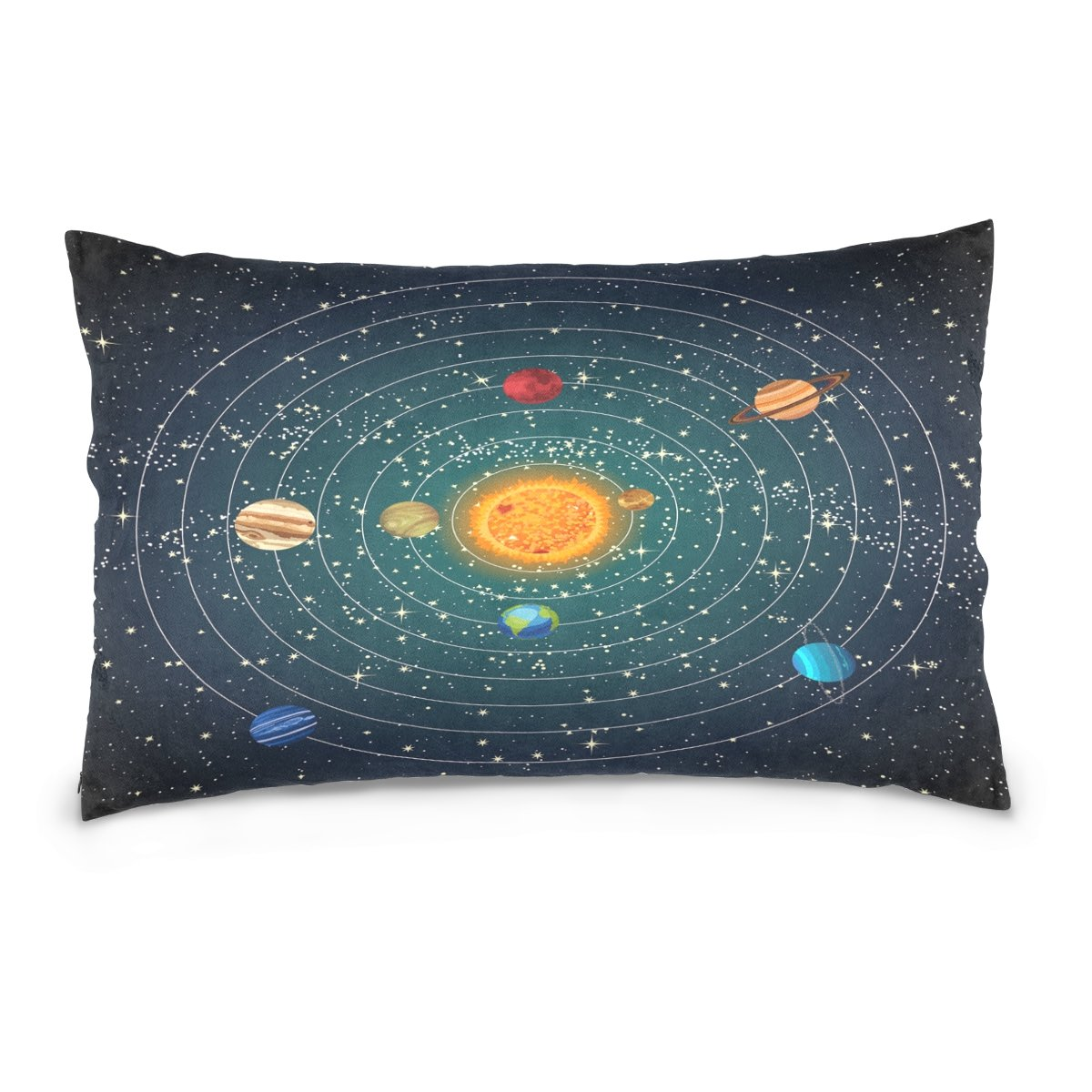 ALAZA Solar System with Sun Planet and Star Cotton Lint Pillow Case,Double-sided Printing Home Decor Pillowcase Size 16''x24'',for Bedroom Women Girl Boy