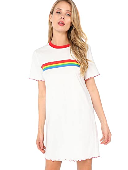 Romwe Women s Short Sleeve Rainbow Colorblock Stripe Print Ringer Neck Mini  Shift Tee Dress at Amazon Women s Clothing store  5655f54ae