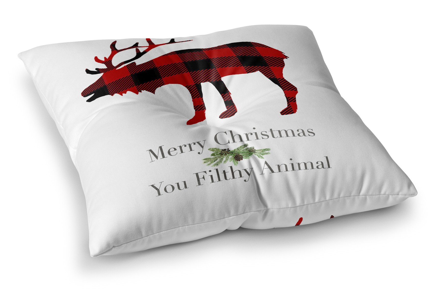 KAVKA DESIGNS Filthy Animal Floor Pillow, (Red/Black/Green/White) - TRADITIONS Collection, Size: 26x26x8 - (TELAVC1395FPS26)