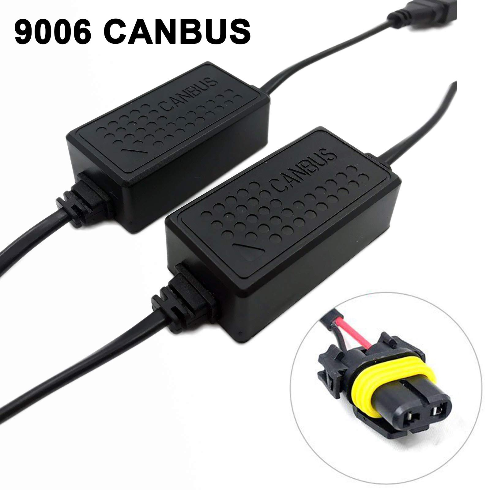 SOCAL-LED 2x A10 HB4 9006 EMC Headlight Kit CANBUS HID LED Decoder Anti-Flicker Error Canceller Relay Resistor Adapter