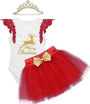YiZYiF Vestido Navidad Fiesta Disfraz de Reno Bebés Niñas Peleles ...