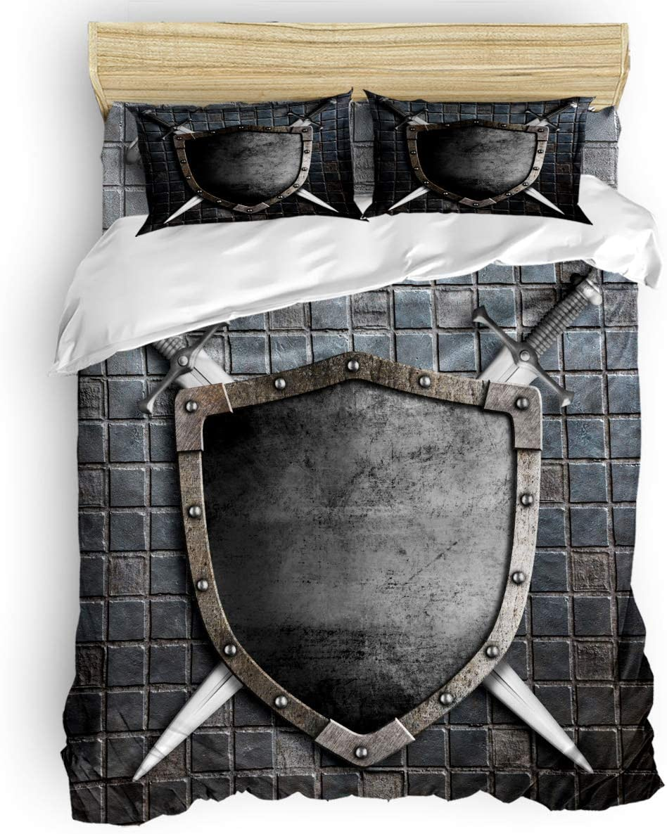 Duvet Cover Set Printed 4 Pcs Bedding Set King Size Include Duvet Cover, Bed Sheet, Pillow Shams Medieval Knight Shield Soft Quilt Cover Set for Children/Adults