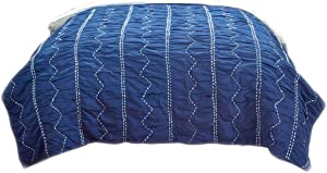 Rizzy Home Cotton Quilts Rizzy Home Sawyer King Size Quilt 106 Inches X 92 Inches 106 X 92 X 0.2 Inches Blue