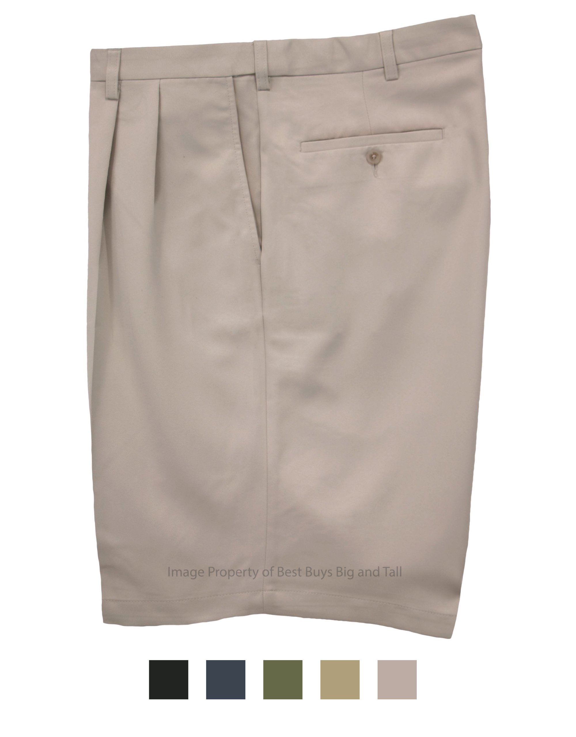Haggar Big & Tall Men's Pleated Casual Shorts Expandable Waist Light Khaki Size 48#898C