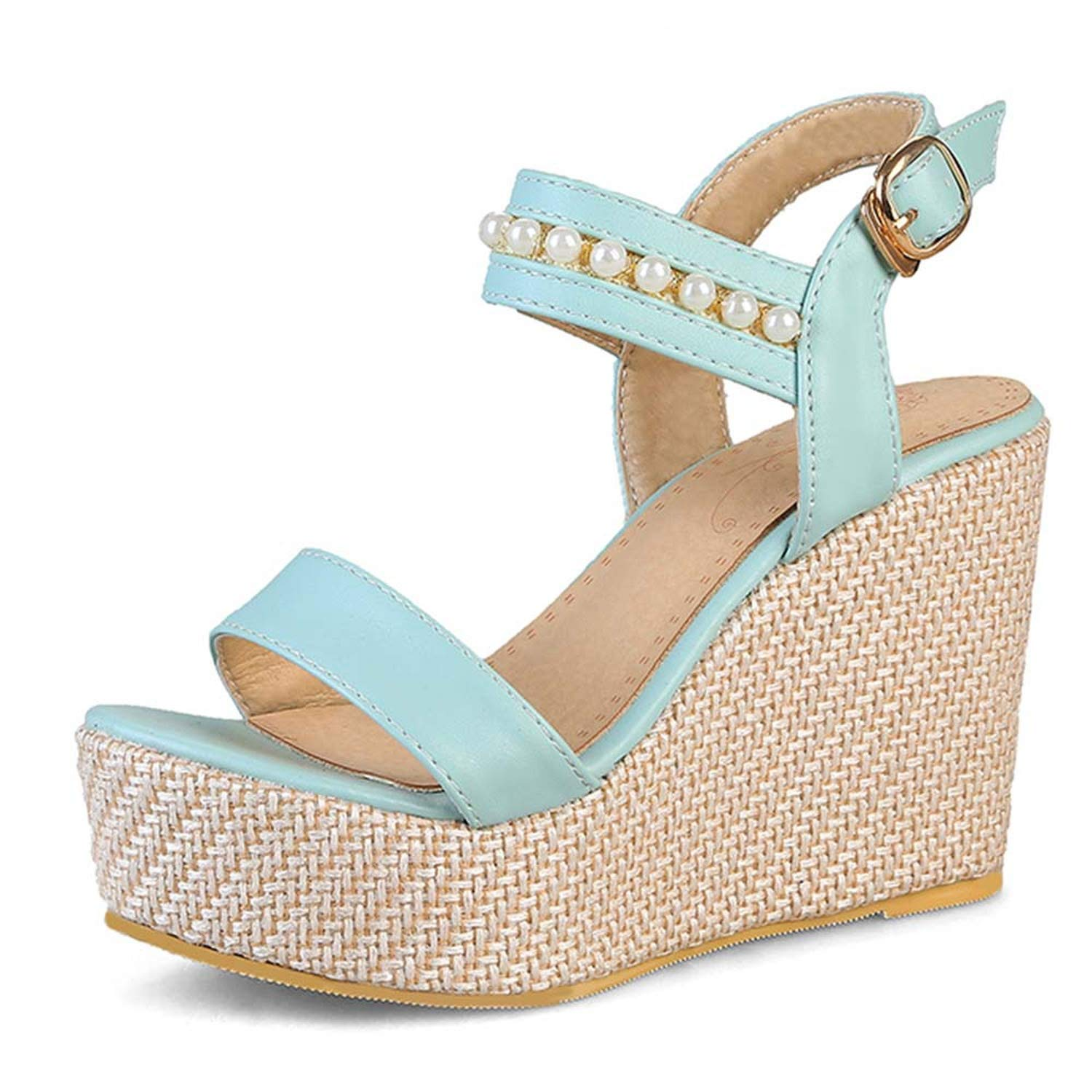 bluee Buckle Strap Summer Sandals for Women High Wedges Heels Open Toe Platform shoes