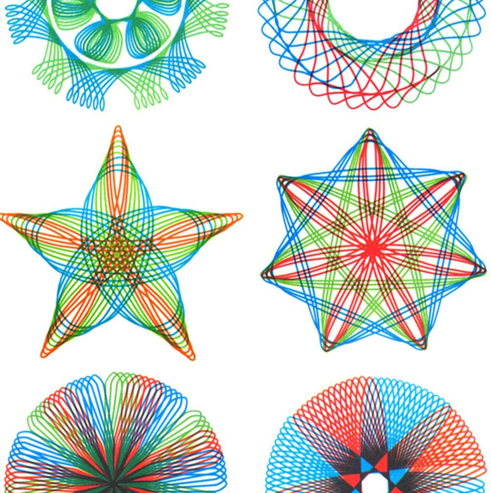 NUOBESTY 7Pcs Plastic Spirograph Drawing Set Geometric Template Drawing Tools Drawing Curve Template Rulers for Kids School Accessories Sky-Blue
