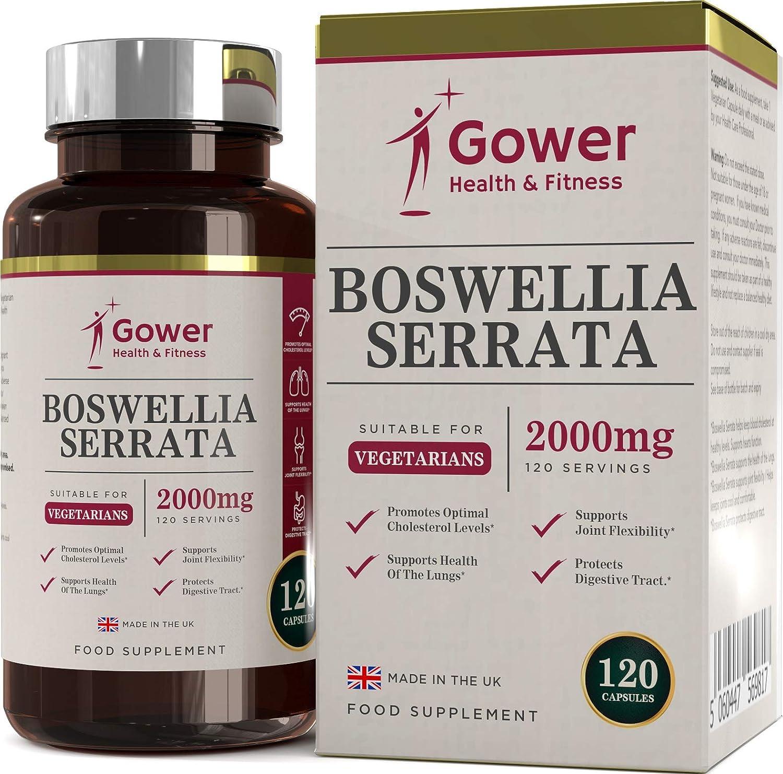 GH Boswellia Serrata Capsulas Extracto 5:1 (Equivalente a 2000mg) 120 Capsulas Vegetarianas | Incienso Indio | Suplemento para el Cuidado de las Articulaciones | ANTIINFLAMATORIOS Naturales