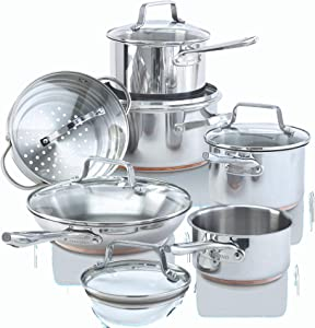 Paderno 12-Piece Stainless-Steel Copper Core Cookware Set   Kitchen Pots and Pans Set with Covered Steamer