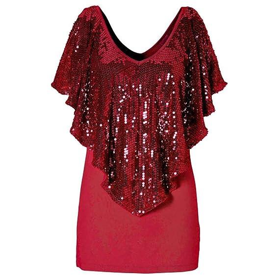 Rcool - Moda de Lentejuelas Mujer Señora Sparkle Glitter Tanque de Manga Corta Top Camiseta Blusa