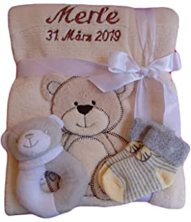 Babydecke mit Name und Datum bestickt kuschlig weich Geschenk Taufe NEU