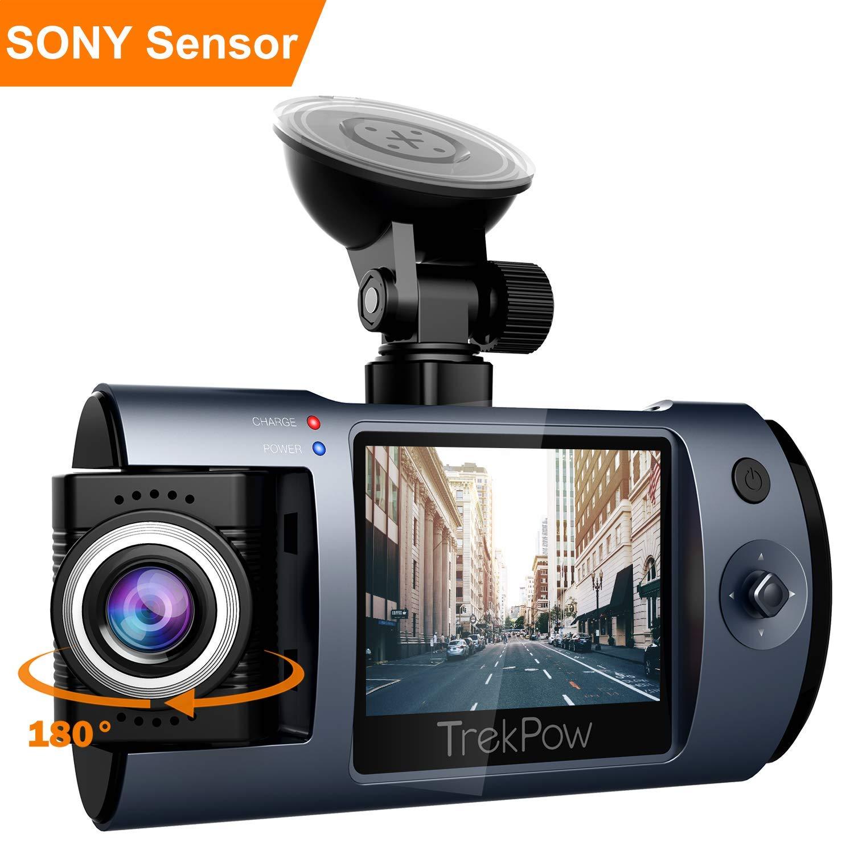 ABOX Cámara de Coche con 180° Rotatorio Lente, TrekPow HD 1080p T1 Coche DVR