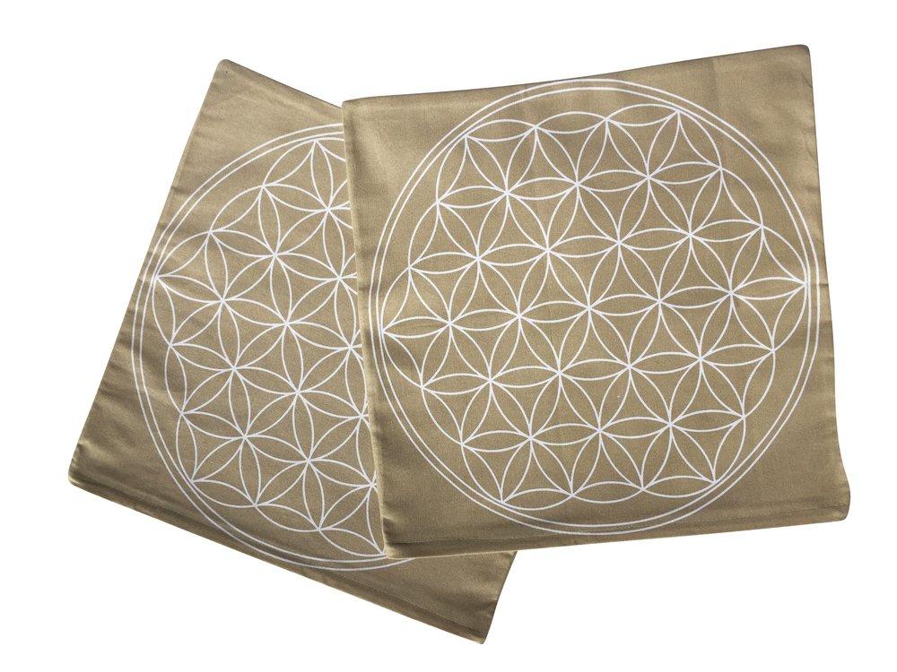 40 x 40 cm EAST-WEST Trading GmbH Federa per cuscino con fiore della vita stampato set da 2 pezzi colore beige con fiore bianco