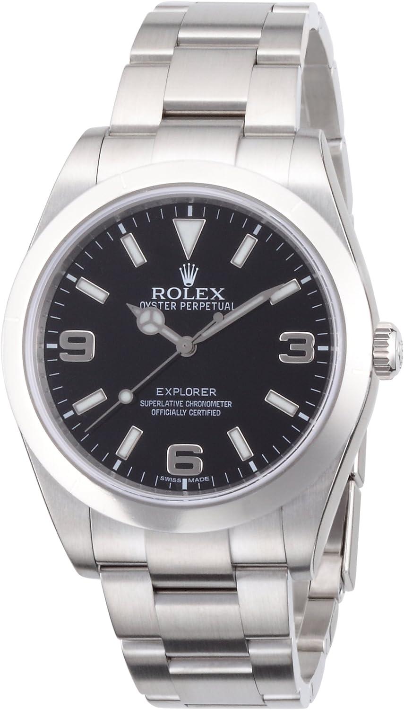 Reloj para hombre Rolex Explorer, con esfera negra, curvada, engaste Oyster 214270BKASO.
