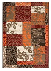 The Rug House Tapis Patchwork Marron, Rouge, Orange, Beige & Crème - 9 Tailles Disponibles