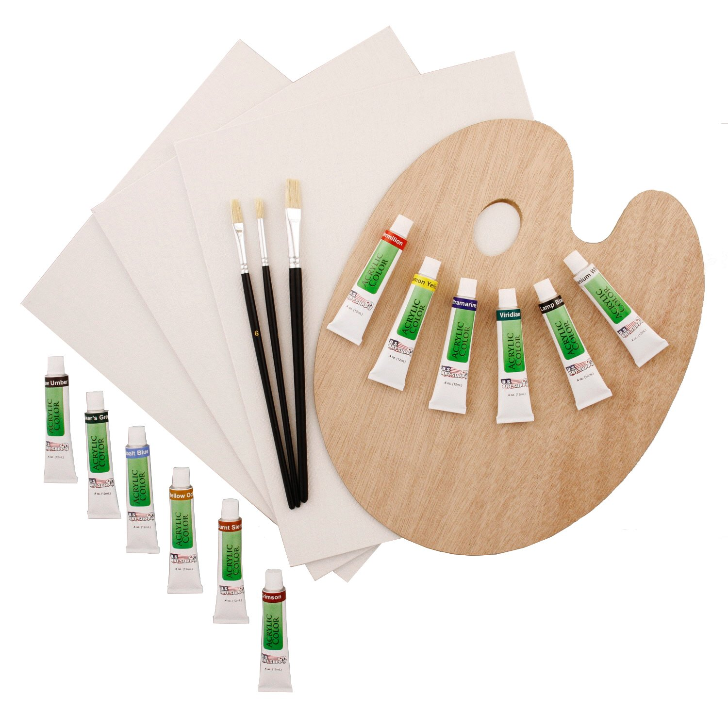 US Art Supply 19-Piece Acrylic Painting Set PS-004