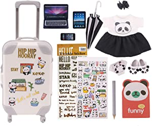 Luckdoll 13PCS Fashion Doll Suitcase Carry on Luggage Travel Set for 18 inch American Doll (White)