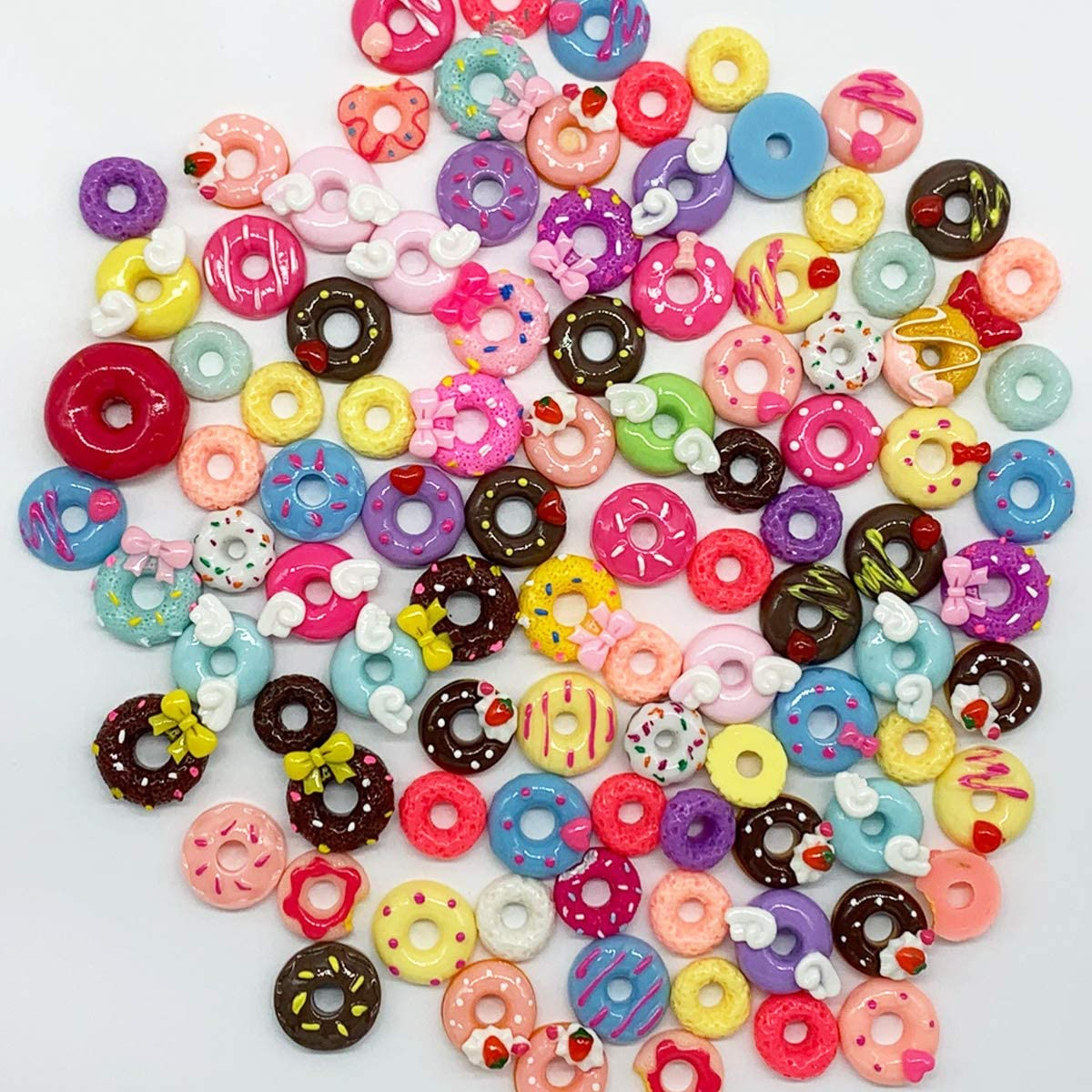 Doughnut Serial Resin Flatback Slime Beads Making Supplies for DIY Scrapbooking Crafts Halloluck 50 Pcs Slime Charms Easter DIY Craft Making Resin Jewery Making Kit