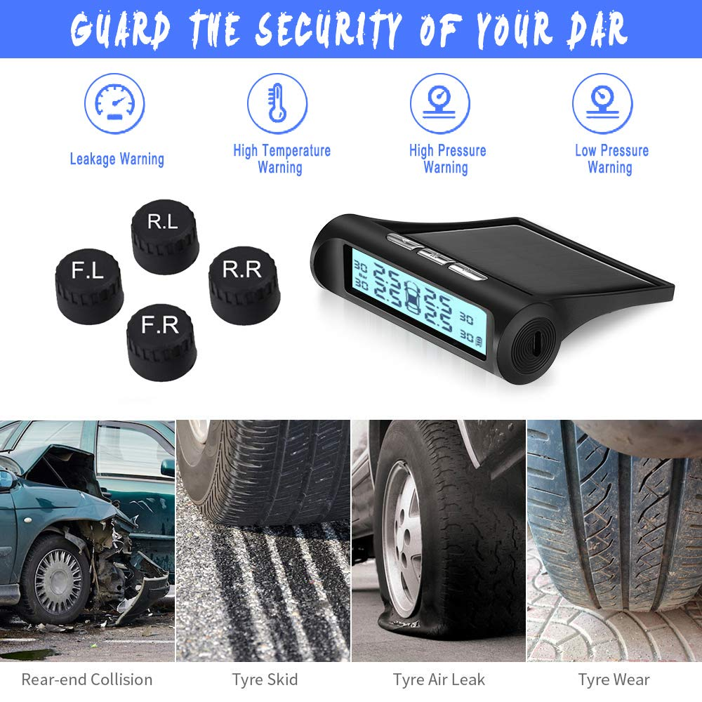RV TPMS B-Qtech Wireless Solar Power TPMS Tire Pressure Monitoring System RV Truck TPMS with 6 Sensors for Car RV Accessories Truck Tow Trailers/'s Pressure and Temperature