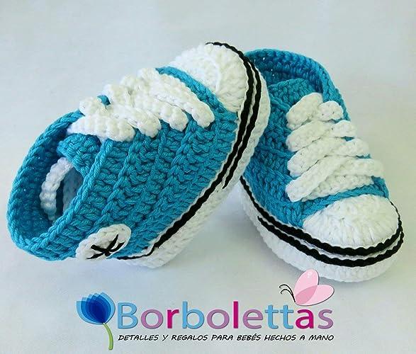 Patucos para Bebé Recién Nacido, tipo Converse, Azul Turquesa, 0-3 ...