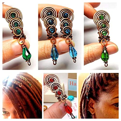 6 Piece Purple Beaded Loc Jewelry  Dreadlock Coils  Hair Accessories   Braid Hair Jewelry  Hair Jewelry  Choice of Color Wire and Coil Size