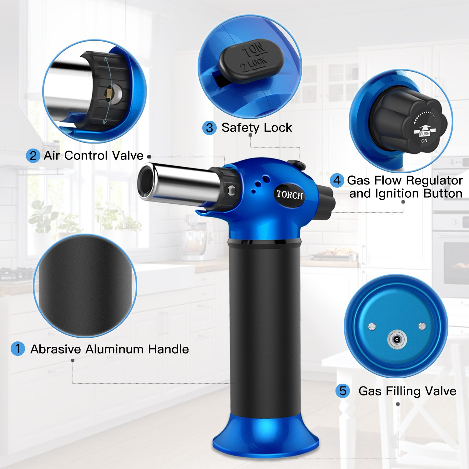 LUCKEA Blow Torch Lighter Kitchen Butane Culinary Torch Chef Cooking Torch Refillable Adjustable Flame Lighter with Two Type of Flame and Safety Lock and for Crème Brûlée, BBQ and Baking - Blue by Luckea (Image #3)
