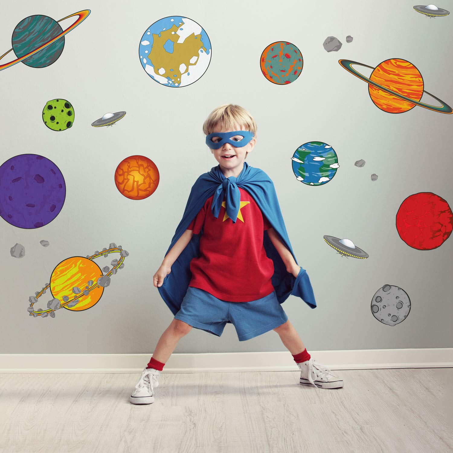 Amazon.com: Cartoon Planet Wall Decals | Space Wall Decals | Perfect for a Creating a Space Themed Room: Baby