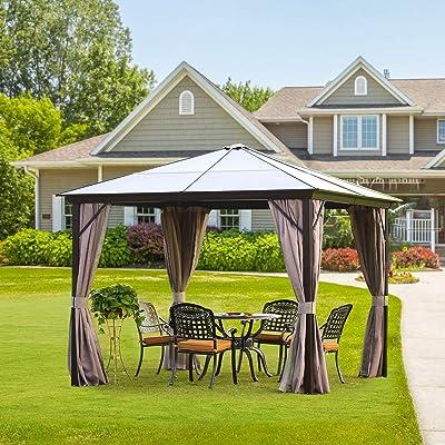 Dnyker Hard Top Gazeebo/Outdoor Gazebo Hardtop Rust Proof Aluminum Framed 10x10ft Brown + Black : Garden & Outdoor
