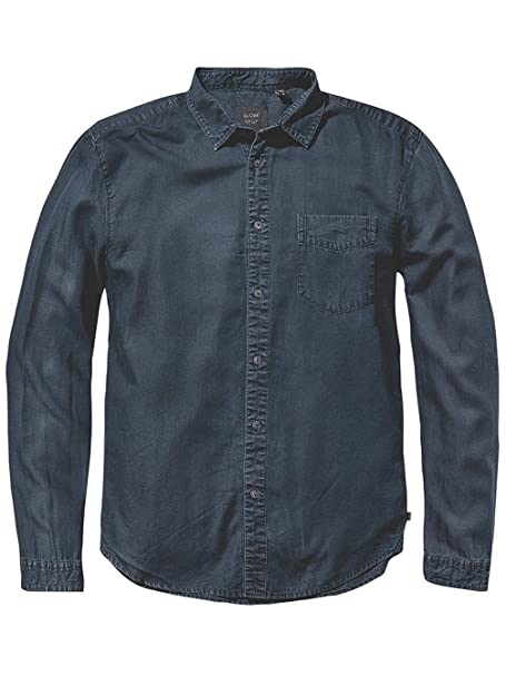 Añil Globe Camisa Casual Hombre Larga Azul Manga Para Xxl QxeBCdorW