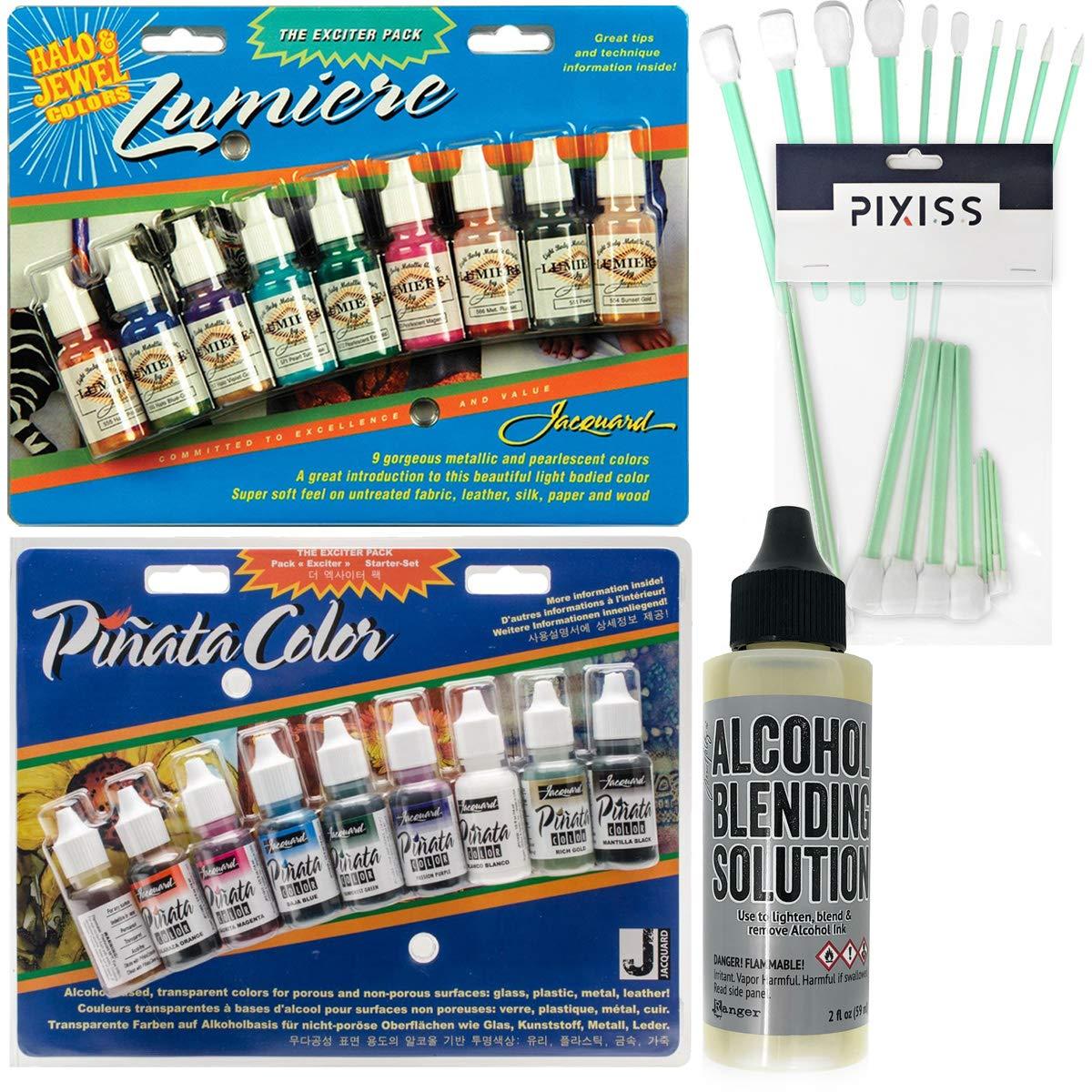 Jacquard Exciter Pack Bundle, Lumiere Exciter Pack .5oz 9/Pkg, Jacquard Pinata Color Exciter Pack Alcohol Ink, Ranger Alcohol Blending Solution, 10x Pixiss Blending Tools