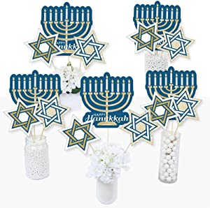 Big Dot of Happiness Happy Hanukkah - Chanukah Party Centerpiece Sticks - Table Toppers - Set of 15