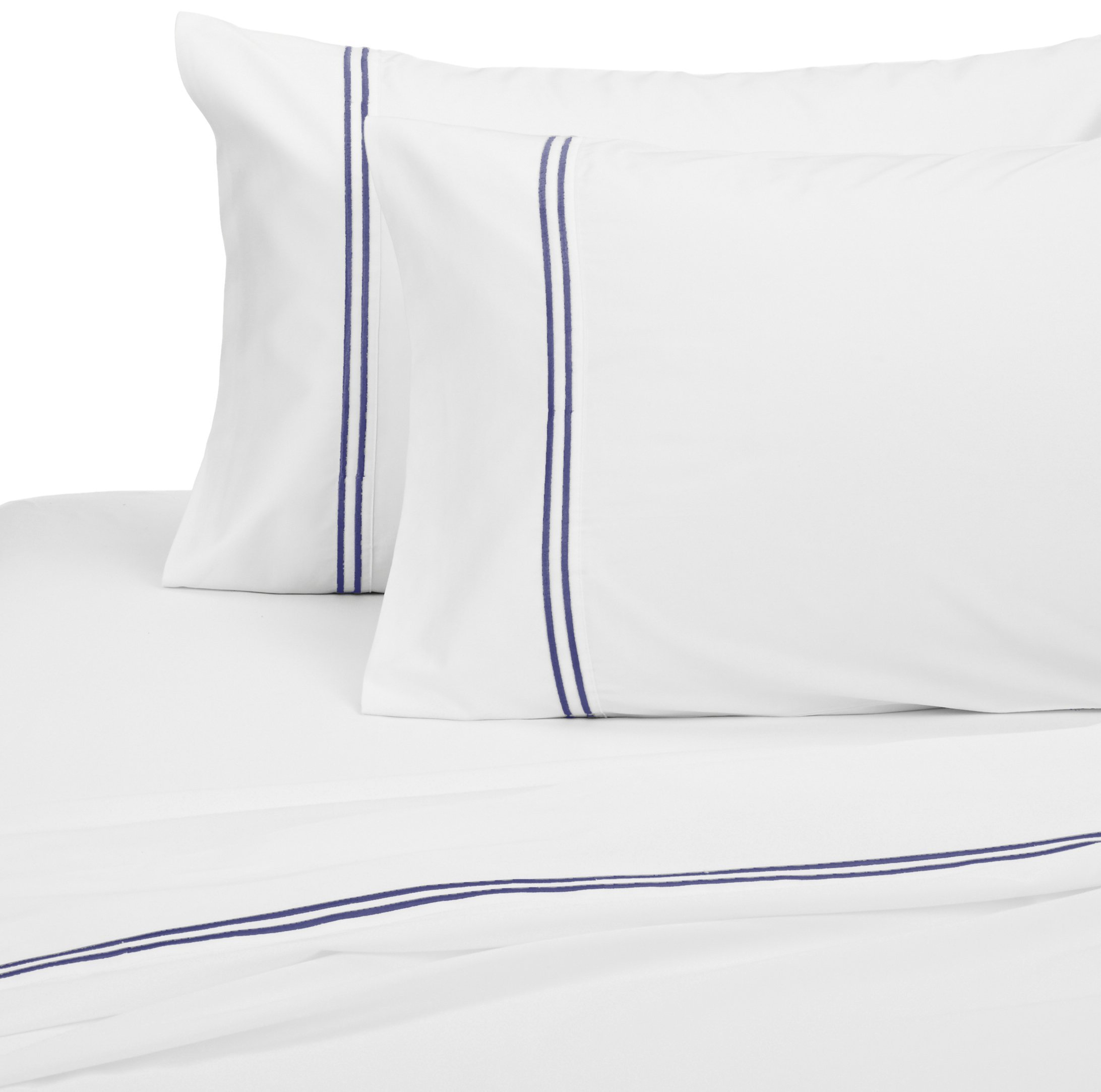 Pinzon 400-Thread-Count Egyptian Cotton Sateen Hotel Stitch Sheet Set - Queen, Navy by Pinzon by Amazon (Image #3)