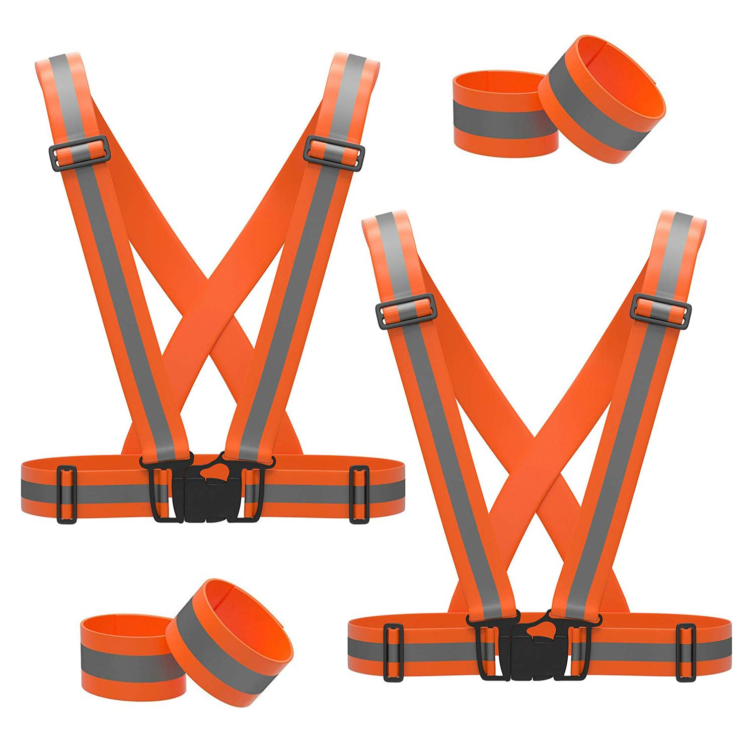 Warehouses Parking Traffic Outdoor Sports and More Tianmei Adjustable Elastic Outdoor Lightweight Reflective Strap Vest Running and Cycling Gear Suitable for Construction site
