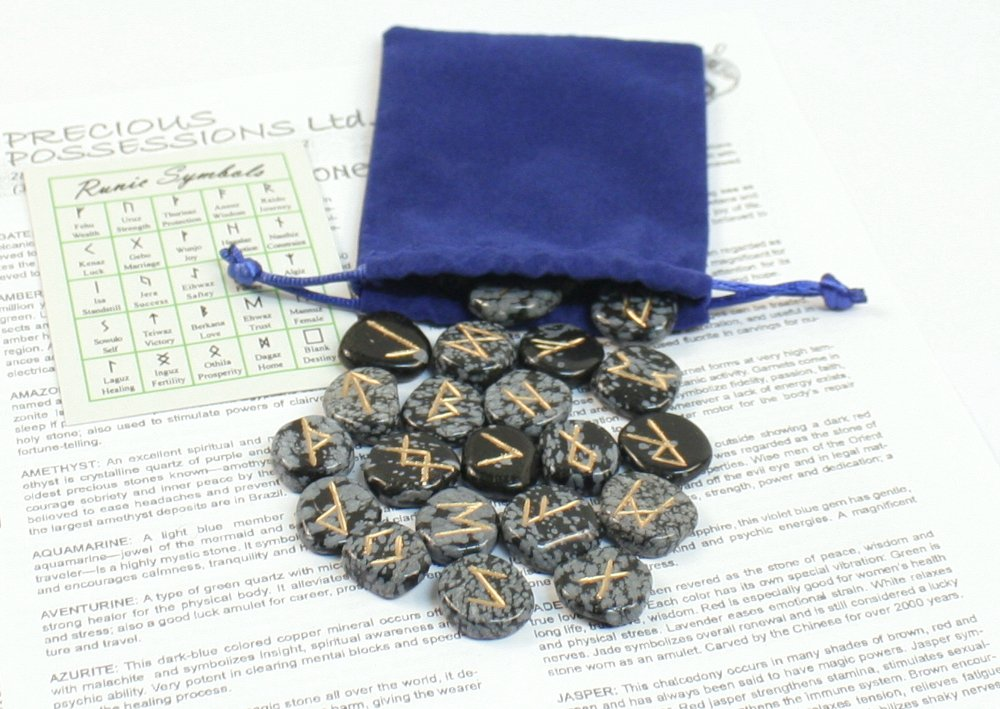 Amazon Snowflake Obsidian Rune Stones With Pouch Blue Bag