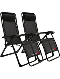 FLAMROSE Patio Chairs With Pillow Zero Gravity Lounge Chair Beach Outdoor  Lawn Recliners Black (Case