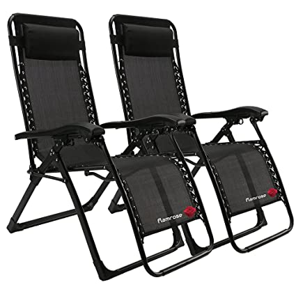 Groovy Flamrose Patio Chairs With Pillow Zero Gravity Lounge Chair Beach Outdoor Lawn Recliners Black Case Of 2 Uwap Interior Chair Design Uwaporg