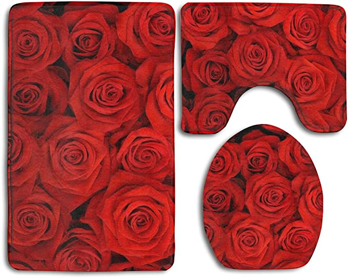 Coolsomejies Red Rose Flowers 3 Piece Bathroom Set Toilet Set Mat Rug Non Slip Contour Rug Toilet Lid Cover And Bath Mat Kitchen Dining Amazon Com