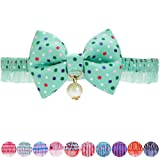 Blueberry Pet 18 Designs Refreshing Green Polka Dot Breakaway Bowtie Cat Collar Lace Choker Necklace with Handmade Bow Tie and Pearl Charm, Safety Elastic Stretch Collar for Cats, Neck