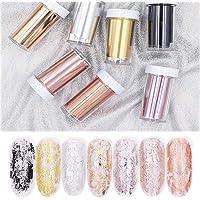 BornBeauty 7 Colors Rose Gold Nail Foils Starry Sky Glitter Nail Art Transfer Stickers Paper Holographic Nail Art Tips