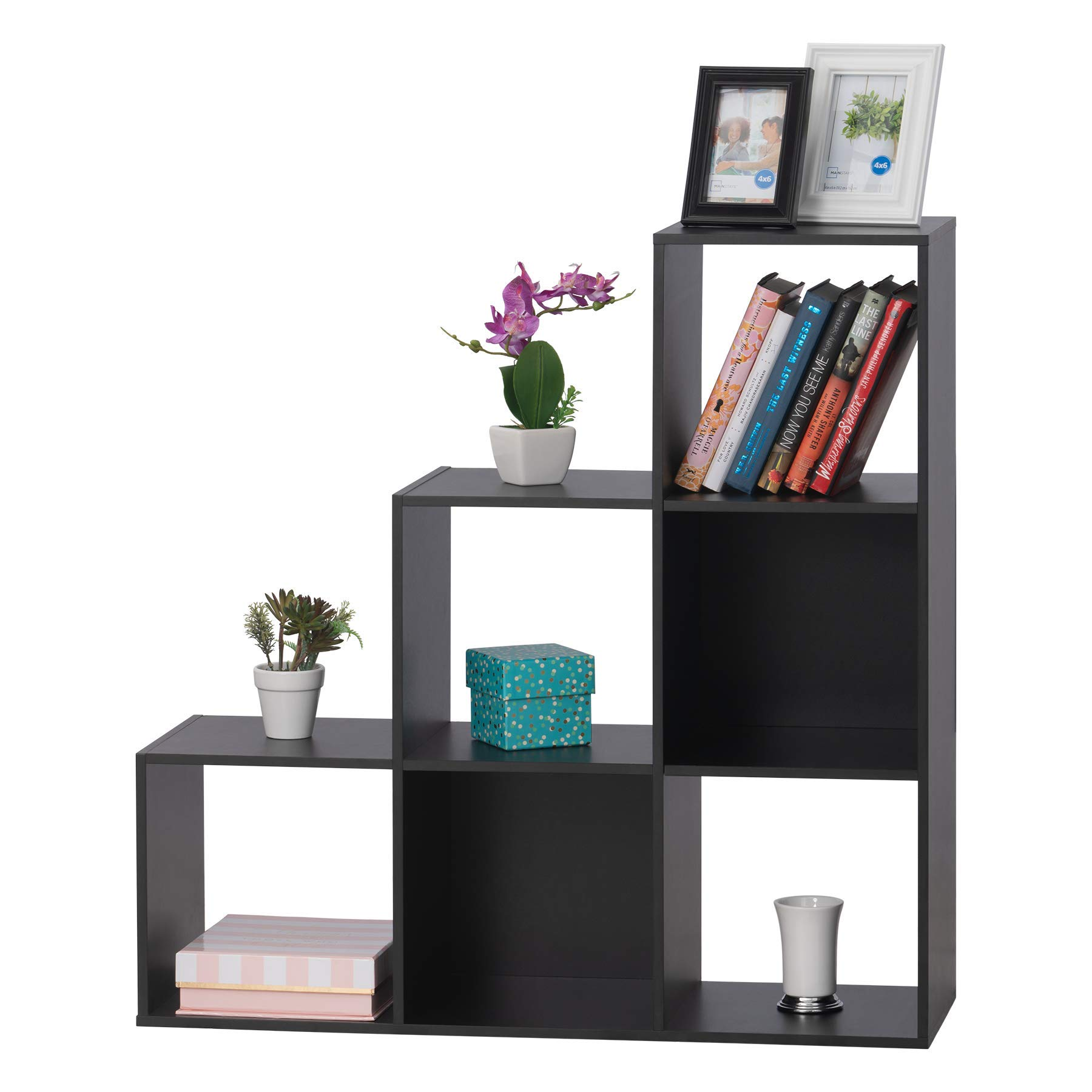 Fineboard FB-BC07-BK 6 Cube Bookshelf Storage Cabinet Organizer Bookcase for Home Office, Black by Fineboard