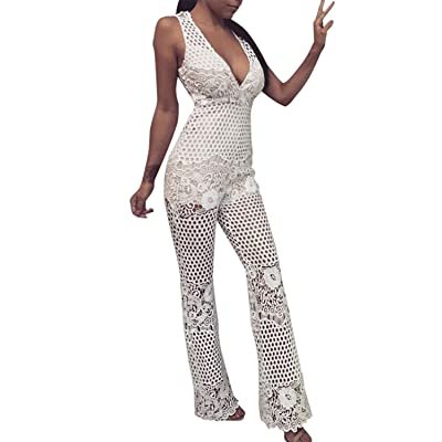 BerryGo Women's Sexy Deep V Neck Floral Lace Hollow Out Transparent Bodycon Jumpsuit
