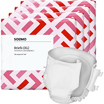 Amazon Brand - Solimo Incontinence Adult Diaper Briefs for Men and Women, Maximum Absorbency, Extra Large, 56 Count