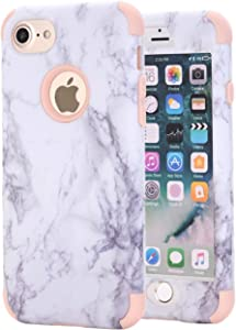 Ankoe iPhone 7 Case, iPhone 8 Case, White Marble Stone Pattern Shockproof Full Body Protective Cover Dual-Layer Slim Soft Flexible Silicone and Hard PC for Apple iPhone 7/8 (Rose Gold)