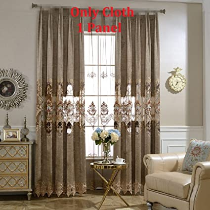 Great European Curtains Delicate Embroidery Curtains Brown Cloth Curtains Grommet  Top Luxurious Royal Style Window Panels Anti