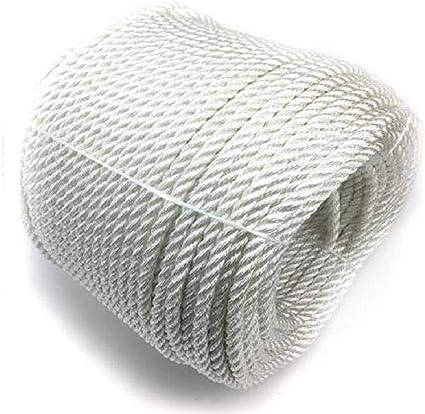 Cuerda para toldos, 50 metros, 6 mm, para mástil de bandera, cuerda de poliéster, algodón, cuerda con punto hueco, color blanco