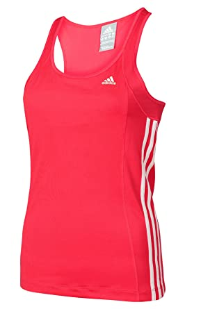 a7382975813 adidas Womens Essentials 3S Pink Climalite Fitted Tank Top With Bra ...