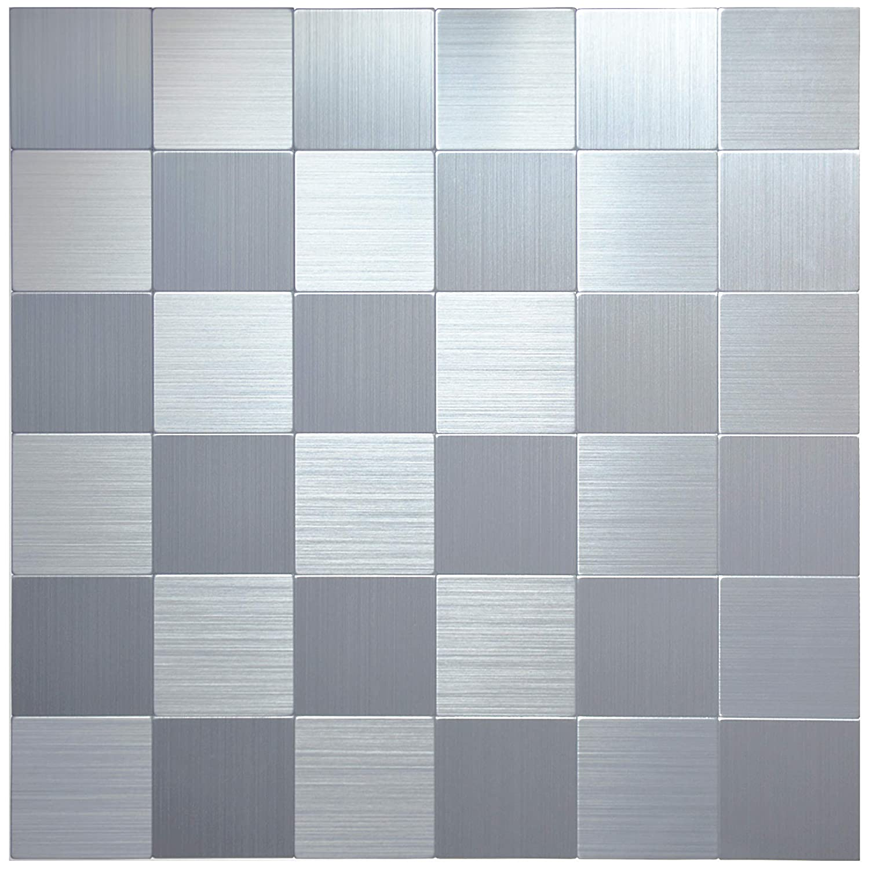 "Crystiles Peel and Stick Mosaics Brushed Stainless Aluminum Wall Tile Backsplash Stick On Metal Tiles, 12"" X 12"", Item #61212620, 4-Pack"